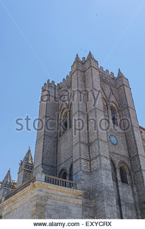 Tower of the cathedral of Avila. Avila cathedral is considered one of the  two first cathedrals built in gothic - Stock Photo