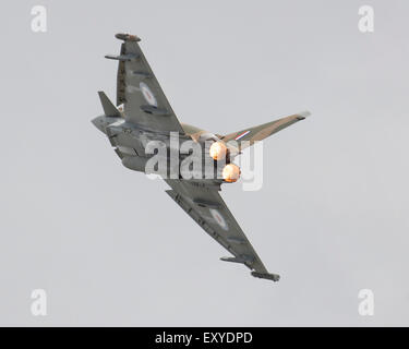 A specially painted Eurofighter Typhoon commemorating the 75th anniversary of the Battle of Britain flying at Yeovilton - Stock Photo