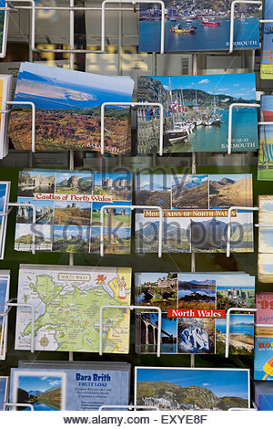 Traditional Seaside Postcards on sale in wales - Stock Photo