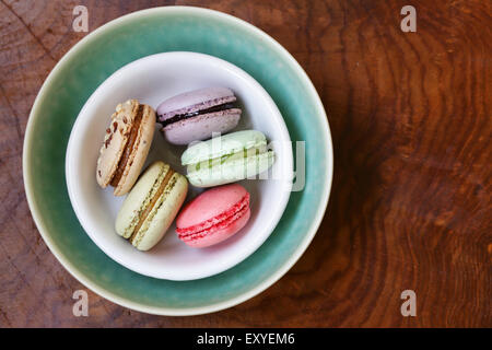 traditional French dessert almond colorful biscuits macaroons - Stock Photo