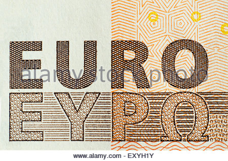 Euro word. International and greek symbols in an 50 Euro banknote. Grexit. - Stock Photo