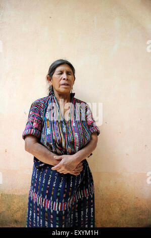 A guatemalan blind women in traditional clothing in Solola, Guatemala. - Stock Photo