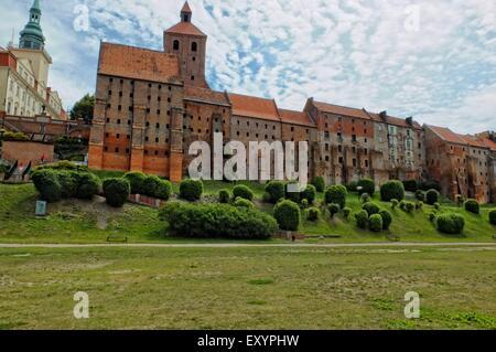 Grudziadz, Poland 12th, July 2015 General view of city of Grudziadz laid on the Vistula River in northern Poland. - Stock Photo
