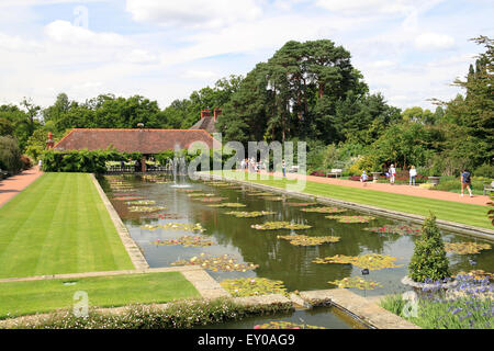 Canal and Water Lily Pavilion, Royal Horticultural Society Arts Fest, RHS Garden Wisley, Woking, Surrey, UK. 18th - Stock Photo