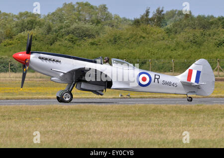 Suoermarine Spitfire Mk. XVIII plane in RAF markings taxiis in after taking part in RIAT 2015's Battle of Britain - Stock Photo