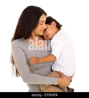beautiful Indian woman carrying her little boy isolated on white background - Stock Photo