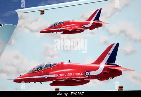 Royal Air Force red arrows display team vehicle at air show, Swansea, West Glamorgan, South Wales, UK - Stock Photo