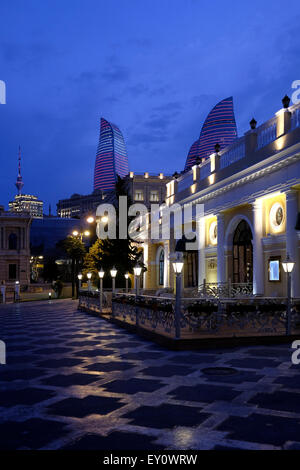 View of the Flame Towers from downtown in the city of Baku capital of Azerbaijan - Stock Photo