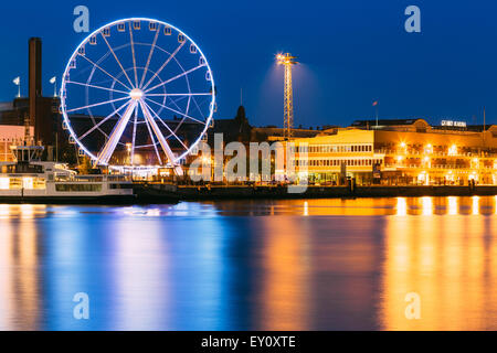 Night Scenery View Of Embankment With Ferris Wheel In Helsinki, Finland - Stock Photo