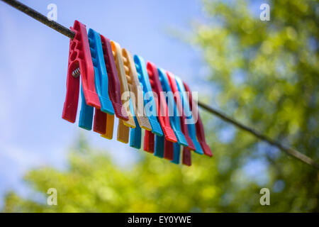 Row of colorful pegs on a line - Stock Photo