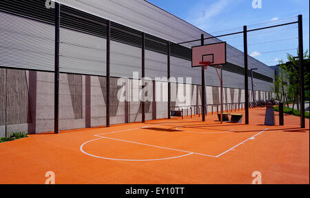 Basketball court sport outdoor public horizontal - Stock Photo