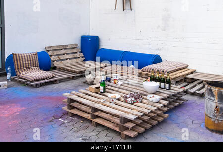 outdoor furniture made from recycled cargo pallets stock photo rh alamy com garden furniture made from recycled materials uk Furniture Made From Junk