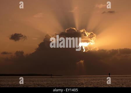 A dramatic sunrise in the Florida Keys off Islamorada - Stock Photo