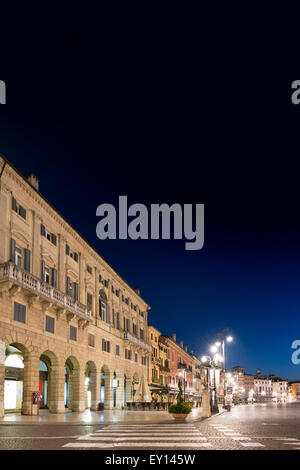 Before Dawn in a deserted Piazza Bra in Verona, Italy - Stock Photo