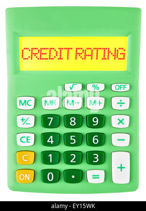 Calculator with CREDIT RATING on display - Stock Photo