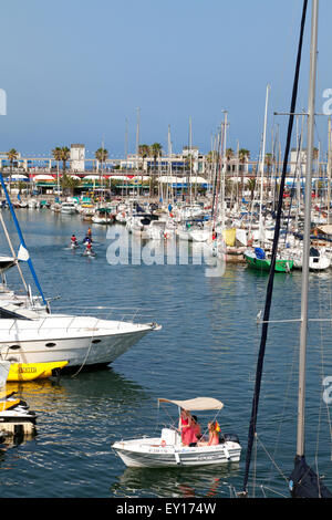 Boats and people in Port Olimpic Marina, Barcelona, Spain, Europe - Stock Photo