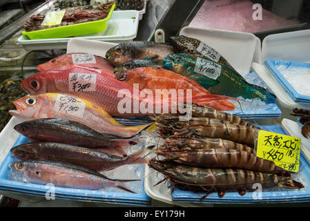 Seafood Stall in Makishi Public Market, Naha, Okinawa, Japan - Stock Photo