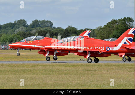 The Red Arrows get airborne for their display at RIAT 2015, Fairford, UK. Credit:  Antony Nettle/Alamy Live News - Stock Photo