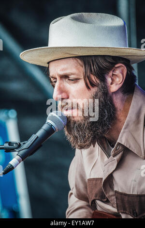 Gateshead, UK - 18th July 2015 - Hillfolk Noir performing on the Sage outdoor stage at Summertyne Americana Festival - Stock Photo