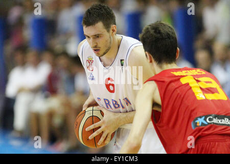 Lignano, Italy. 19th July, 2015. Serbia's Marko Guduric during the basketball finals 1st and 2nd place match between - Stock Photo