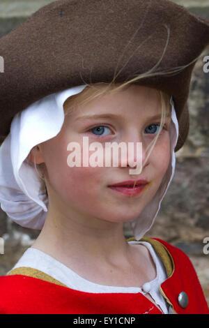 Hoghton Towers, Chorley, Lancashire, UK. 19th July, 2015.   Maddie Richardson aged 9 at The Battle of Preston – - Stock Photo