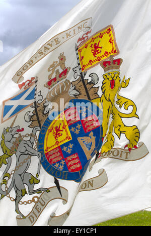 Hoghton Towers, Chorley, Lancashire, UK. 19th July, 2015.  'God Save King'  Battle Standard at the Battle of Preston - Stock Photo