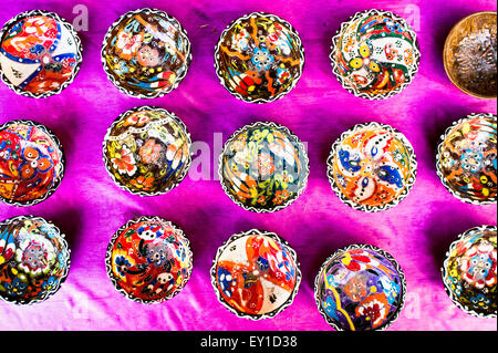 Seelction of traditional bowls at a market in Turkey - Stock Photo