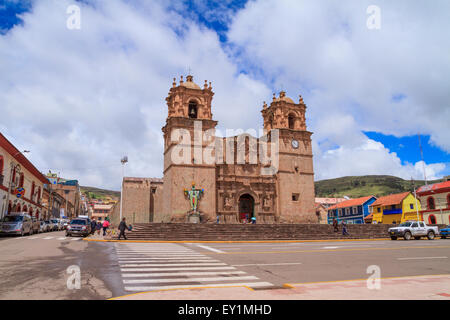 The Cathedral Basilica San Carlos Borromeo or Puno Cathedral is a Andean Baroque cathedral in the city of Puno in - Stock Photo