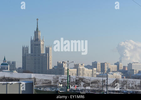 Tall residential building on Kotelnicheskaya embankment of Moscow in the winter day - Stock Photo