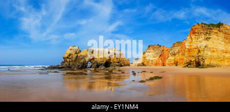 Praia da Rocha. Idillyc landscape with golden sands beach at coast of Algarve, Portugal - Stock Photo