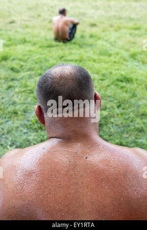 Oil wrestlers in Traditional Kirkpinar Wrestling Festival, which was taken into UNESCO cultural heritage program. - Stock Photo