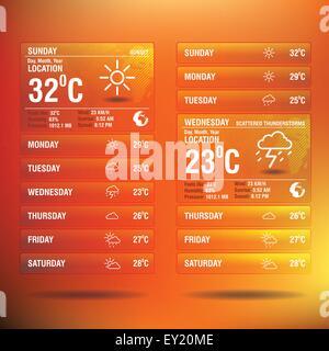 Weather widget app for mobile - vector illustration - Stock Photo