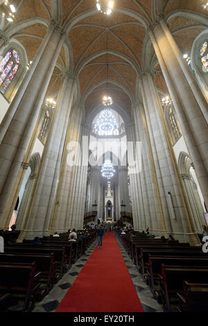 Interior, cathedral Catedral Metropolitana de São Paulo or Catedral da Sé, São Paulo, Brazil - Stock Photo