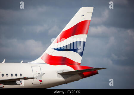 Tail fin of British Airways plane Airbus A318 G-EUNB at Royal International Air Tattoo at RAF Fairford, Gloucestershire, - Stock Photo