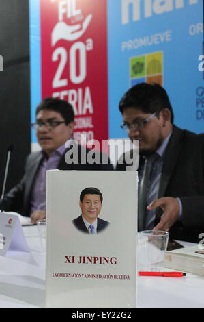 Lima, Peru. 19th July, 2015. Xi Jinping: the Governance of China, a book by Chinese President Xi Jinping, is on - Stock Photo