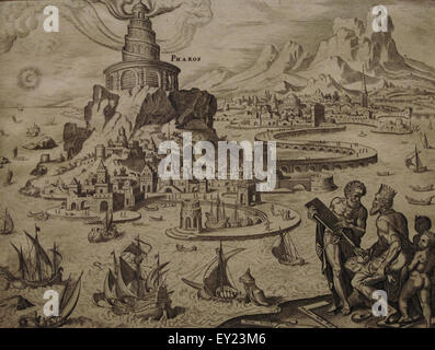 Seven Wonders Of The Ancient World Lighthouse Alexandria Engraving By Philip Galle