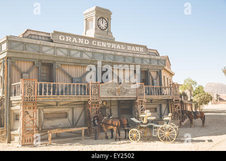 Mule cart in front of saloon building on wild west film set, Fort Bravo, Tabernas, Almeria, Spain - Stock Photo