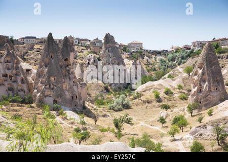 Rock formations of Uchisar village, Cappadocia, Anatolia, Turkey - Stock Photo