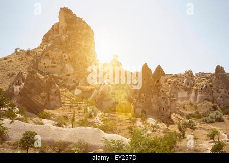 Uchisar village, Cappadocia, Anatolia, Turkey - Stock Photo