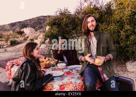 Three adult friends having picnic in desert, Los Angeles, California, USA - Stock Photo