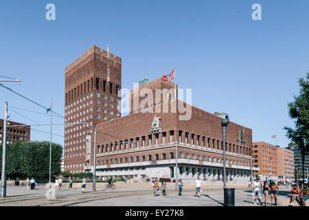 Town Hall (Radhus), town hall square (Radhusplassen), Oslo, Norway, Europe - Stock Photo