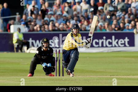 Hove UK Friday 17th July 2015 - Adam Wheater of Hampshire playing a reverse sweep shot watched by Sussex wicketkeeper - Stock Photo