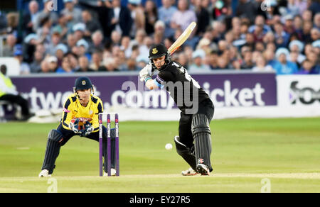 Hove UK Friday 17th July 2015 - Chris Nash of Sussex batting watched by wicketkeeper Adam Wheater during the NatWest - Stock Photo