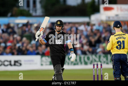 Hove UK Friday 17th July 2015 - Chris Nash of Sussex gets his half century during the NatWest T20 blast cricket - Stock Photo