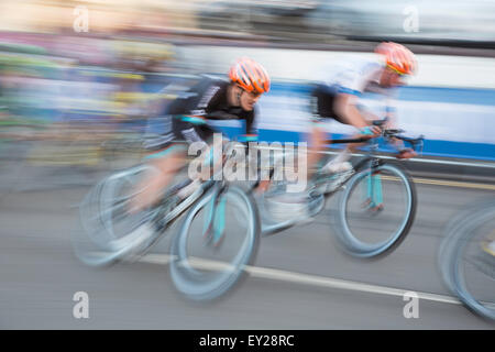 Motion blur at a cycle road race, England, UK - Stock Photo