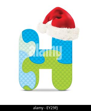 Letter H written with alphabet puzzle with christmas hat - vector illustration - Stock Photo