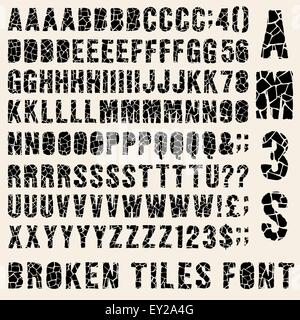 Broken tiles (trencadis) typeset with different solutions for each type - Stock Photo