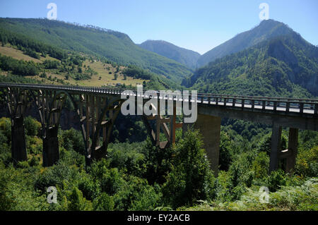 Bridge over the Tara River Canyon in Montenegro. - Stock Photo