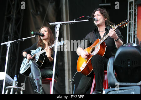 Marion Raven and Randy Flowers opening the Meat Loaf gig in UK - Stock Photo