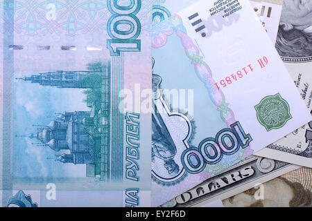 Dollars, euros, russian roubles - Money of the world - Stock Photo
